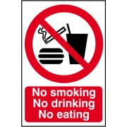 No smoking No drinking No eating - PVC (200 x 300mm)