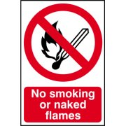 No smoking of naked flames - PVC (200 x 300mm)