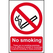 No smoking These are no smoking premises - CLG (200 x 300mm)