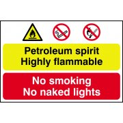 Petroleum spirit / No smoking or naked lights - PVC (600 x 400mm)