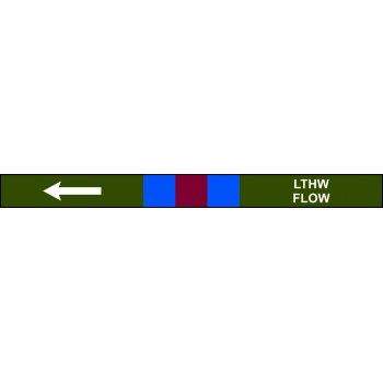 Spectrum Industrial Pre-printed Pipeline Banding - LTHW Flow (400mm x 25m)