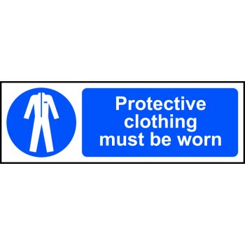 Spectrum Industrial Protective clothing must be worn - RPVC (300 x 100mm)