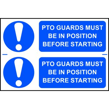 Spectrum Industrial PTO guards must be in position before starting - PVC (300 x 200mm)