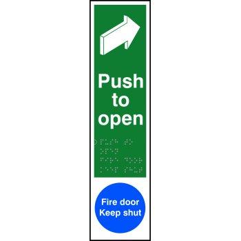 Spectrum Industrial Push to open / Fire door Keep shut - Taktyle (75 x 300mm)