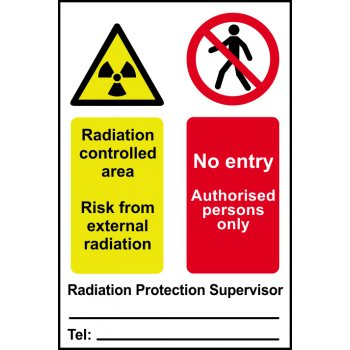 Spectrum Industrial Radiation controlled area No entry... - PVC (200 x 300mm)