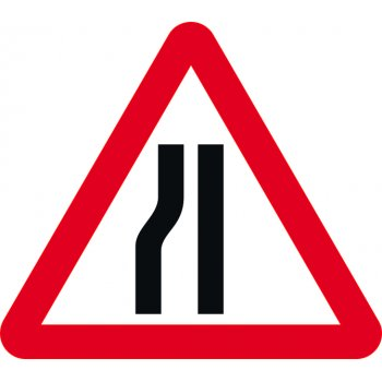 Spectrum Industrial Road narrows nearside - Classic Roll up traffic sign (750mm Tri)