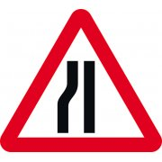 Road narrows nearside - Classic Roll up traffic sign (750mm Tri)