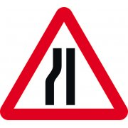 Road narrows nearside - Q Sign (750mm)