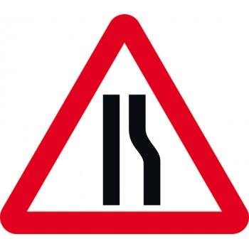 Spectrum Industrial Road narrows offside - Classic Roll up traffic sign (750mm Tri)