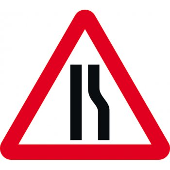 Spectrum Industrial Road narrows offside - TriFlex Roll up traffic sign (900mm Tri)