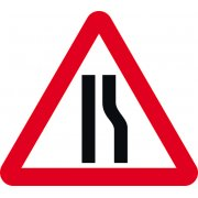 Road narrows offside - TriFlex Roll up traffic sign (900mm Tri)
