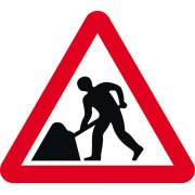 Road works - Classic Roll up traffic sign (600mm Tri)