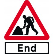 Road works & End Supp plate - Classic Roll up traffic sign (750mm Tri)