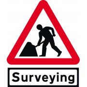 Road works & Surveying Supp plate - Classic Roll up traffic sign (600mm Tri)