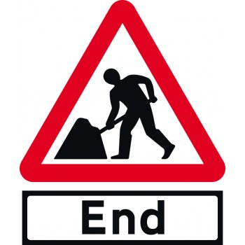 Spectrum Industrial Road Works with End Supp plate - TriFlex Roll up traffic sign (750mm Tri)