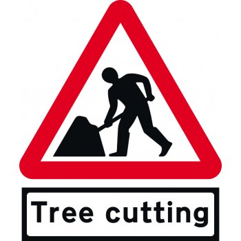 Spectrum Industrial Road Works with Tree cutting Supp plate - TriFlex Roll up traffic sign (750mm Tri)