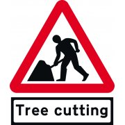 Road Works with Tree cutting Supp plate - TriFlex Roll up traffic sign (750mm Tri)