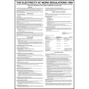 Safety Poster: Electricity at Work Regulations - RPVC (400 x 600mm)