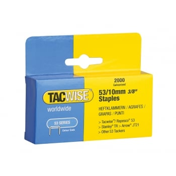 Tacwise 53 Light Duty Staples 10mm (Type JT21, A) Pack 2000