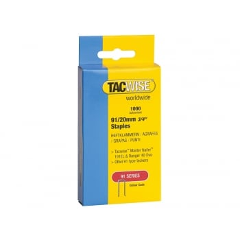Tacwise 91 Narrow Crown Divergent Point Staples 20mm - Electric Tackers Pack 1000