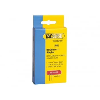 Tacwise 91 Narrow Crown Divergent Point Staples 25mm - Electric Tackers Pack 1000