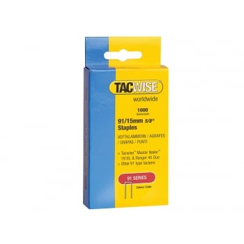 Tacwise 91 Narrow Crown Staples Divergent Point 15mm - Electric Tackers Pack 1000
