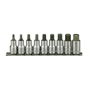 Teng M1212 Socket Clip Rail Hex Set of 9 Metric 1/2in Drive