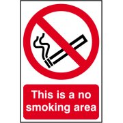 This is a no smoking area - PVC (200 x 300mm)