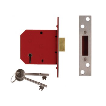 UNION 2101 5 Lever Mortice Deadlock Satin Brass Finish 65mm 2.5in Visi