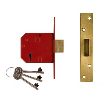UNION 2134E 5 Lever BS Mortice Deadlock Satin Chrome Finish 79.5mm 3in Box