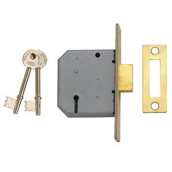 UNION 2177 3 Lever Mortice Deadlock Polished Brass 65mm 2.5in Box