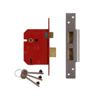 UNION 2234E 5 Lever BS Mortice Sashlock Plated Brass Finish 79.5mm 3 in Visi