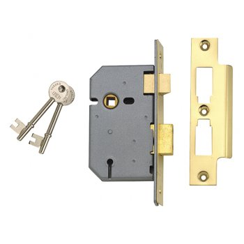 UNION 2277 3 Lever Mortice Sashlock Polished Brass 77.5mm 3in Visi