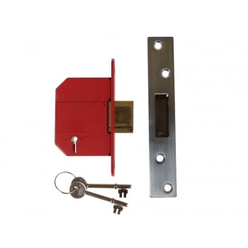 UNION StrongBOLT 2100S BS 5 Lever Mortice Deadlock 68mm 2.5in Satin Chrome Visi