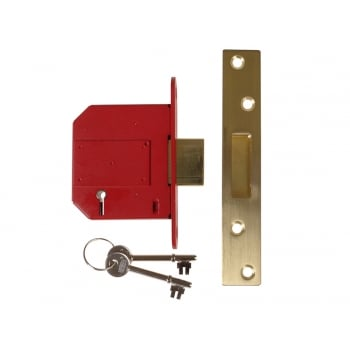 UNION StrongBOLT 2100S BS 5 Lever Mortice Deadlock 81mm 3in Satin Brass Visi