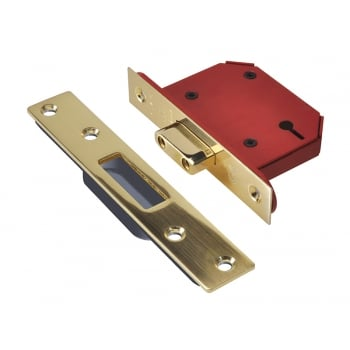 UNION StrongBOLT 2103S Polished Brass 3 Lever Mortice Deadlock 81mm 3in Visi