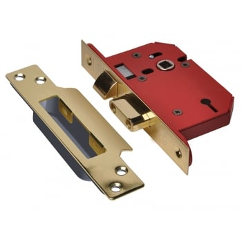 UNION StrongBOLT 2203S 3 Lever Mortice Sashlock Polished Brass 81mm 3in Visi