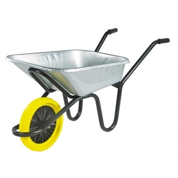 Walsall 90L Galvanised Heavy-Duty Endurance Wheelbarrow - Puncture Proof