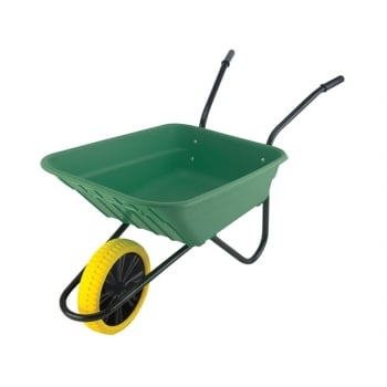 Walsall 90L Green Polypropylene Wheelbarrow - Puncture Proof