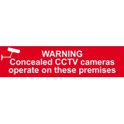 Warning Concealed CCTV cameras operate on these premises - PVC (200 x 50mm)