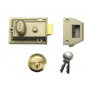 Yale Locks 77 Traditional Nightlatch 60mm Backset Brasslux Finish Box
