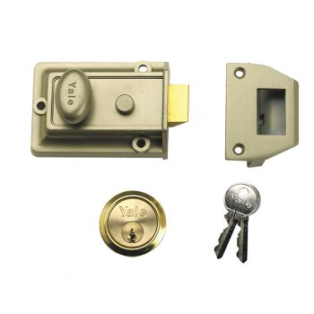 Yale Locks 77 Traditional Nightlatch 60mm Backset Nickel Brass Finish Box