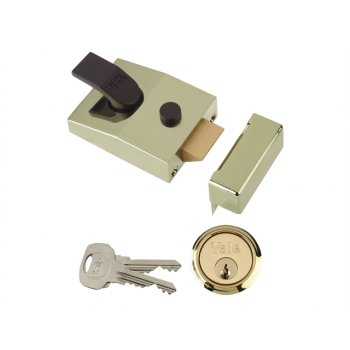 Yale Locks 89 Deadlock Nightlatch 60mm Backset Brasslux Finish Box
