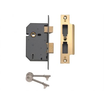 Yale Locks PM550 5 Lever Mortice Sashlock Polished Brass 67mm 2.5in