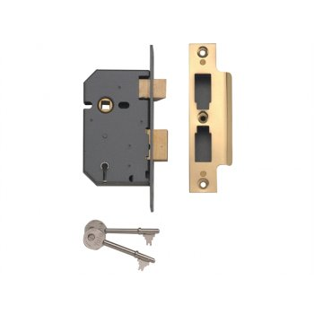 Yale Locks PM550 5 Lever Mortice Sashlock Polished Brass 80mm 3in