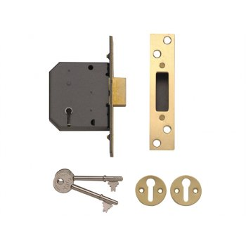Yale Locks PM552 5 Lever Mortice Deadlock 67mm 2.5in Polished Brass