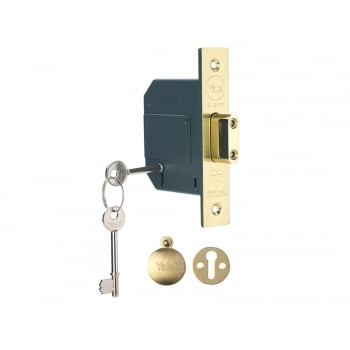 Yale Locks PM562 Hi-Security BS 5 Lever Mortice Deadlock 68mm 2.5 inch Polish Brass