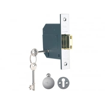 Yale Locks PM562 Hi-Security BS 5 Lever Mortice Deadlock 68mm 2.5 inch Polish Chrome