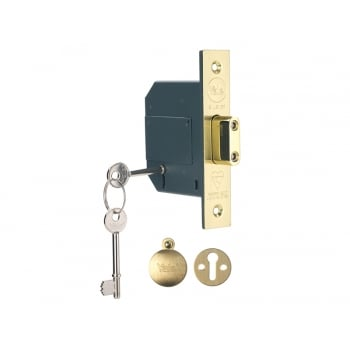 Yale Locks PM562 Hi-Security BS 5 Lever Mortice Deadlock 81mm 3 inch Polish Brass