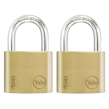 Yale Locks YE1 Brass Padlock 40mm (2 Pack)